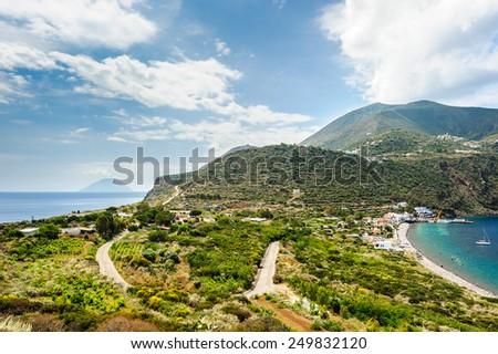 Filicudi island two shores, Aeolian Islands, Sicily, Italy. - stock photo