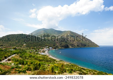 Filicudi shoreline on a sunny day, Aeolian islands, Sicily, Italy. - stock photo
