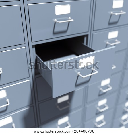 Filing cabinet for documents. 3d render illustration - stock photo