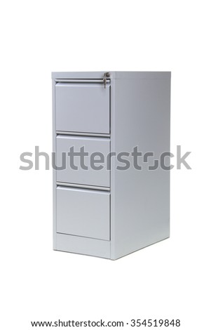Filing cabinet isolated on white background - stock photo