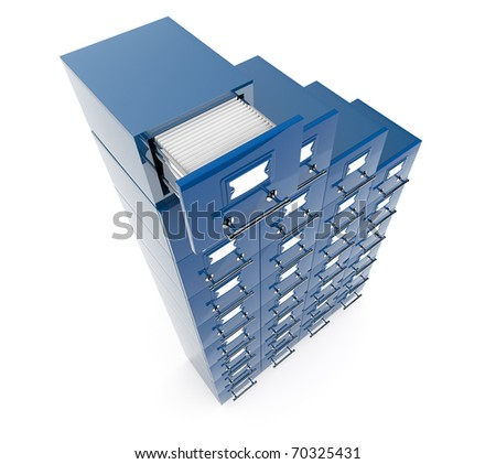 Filing cabinet isolated over white background - stock photo
