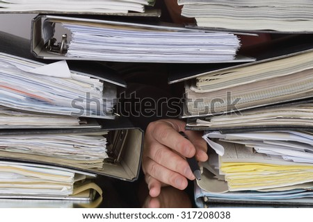filing folders exhaustion - stock photo