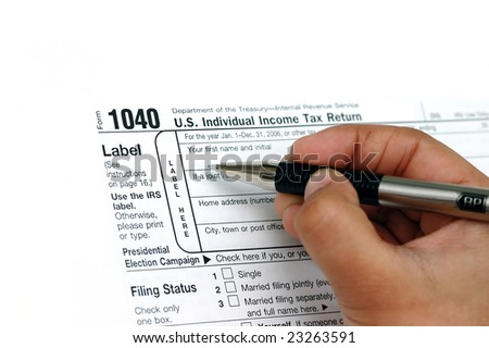 Filing your individual US tax return 1040 - stock photo