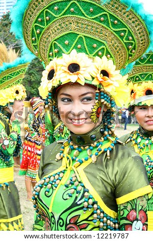 filipina girl participating in Philippine street parade