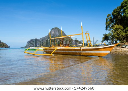 Filipino boat in the sea, El Nido, Philippines - stock photo