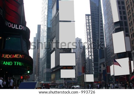 Fill this image of times square with anything you want in the blank advertising sign spaces - be creative.  Plenty of copy and negative space for your text or graphic designs.
