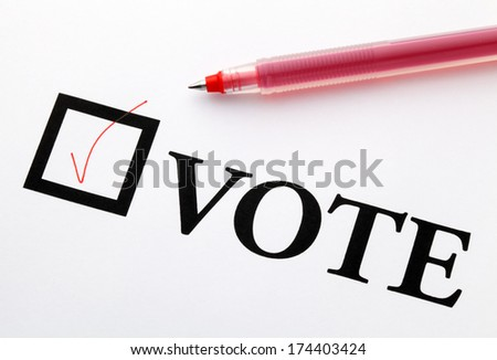 Filled check boxes with word VOTE - stock photo