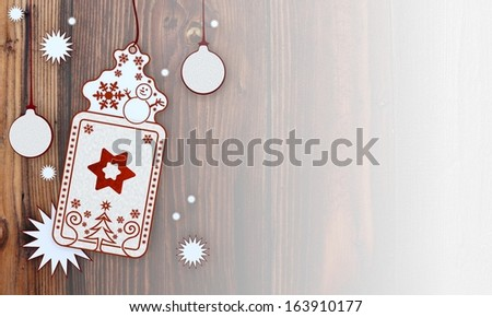 filled, illustration of a christmas card with star label in front of a wooden background with gradient to white