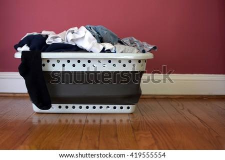 filled laundry basket - stock photo