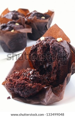 filled muffins on white background - stock photo