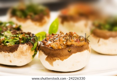 Filled mushrooms. shallow depth of field