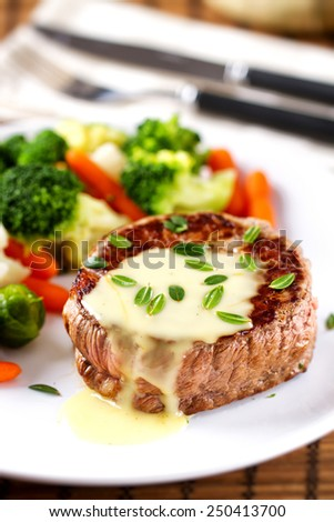 Fillet of beef with b�©arnaise sauce.