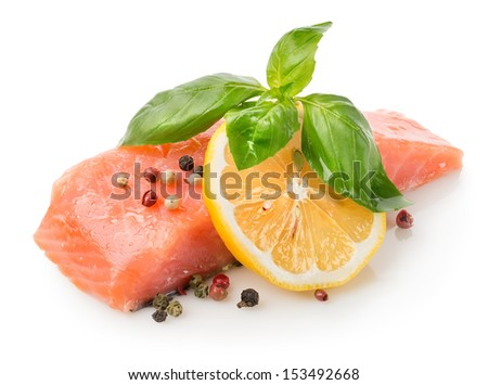 Fillet of salmon with lemon and sauce  - stock photo