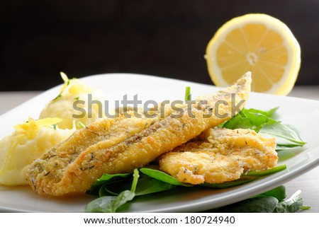 Fillet of sea bream with mashed potatoes, spinach and lemon - stock photo