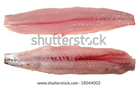 Fillets of narrow-barred Spanish mackerel (Scomberomorus commerson), or kingfish as it is known in Arabia and Asia. Skin side up in the bottom example, rib-side in the top. - stock photo