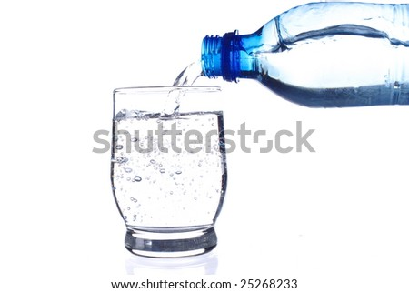 Filling fresh water on white background