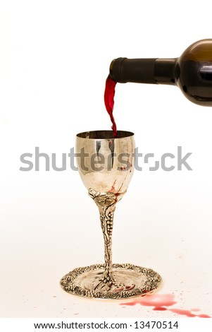 filling ritual wine cup in the Sabbath