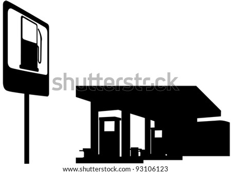 Filling station and a road sign. Black and white illustration.