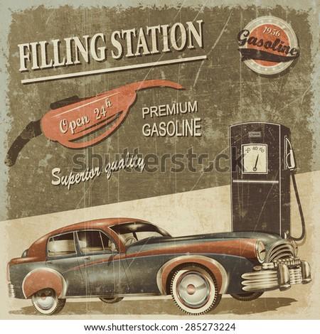 Filling station retro poster - stock photo