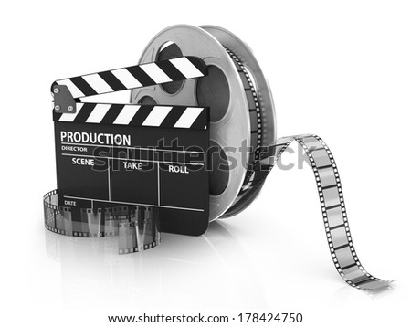 Film and Clapper board - video icon - stock photo