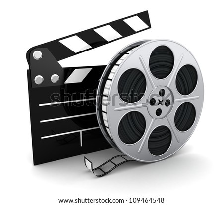 Film and clipboard symbol (done in 3d) - stock photo