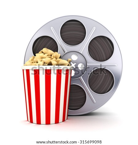 Film and popcorn symbol (done in 3d)  - stock photo