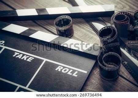 Film, cinema, clapper. - stock photo