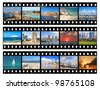 Film frames - nature and views of Tel-Aviv city (Israel), isolated on white - stock photo