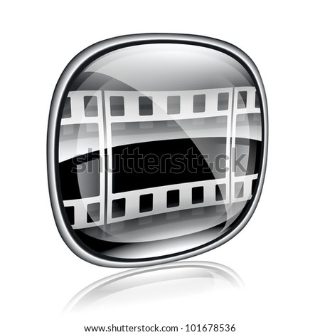Film icon black glass, isolated on white background.
