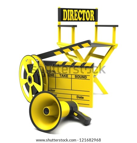 Film industry: directors chair with film strip and movie clapper - stock photo