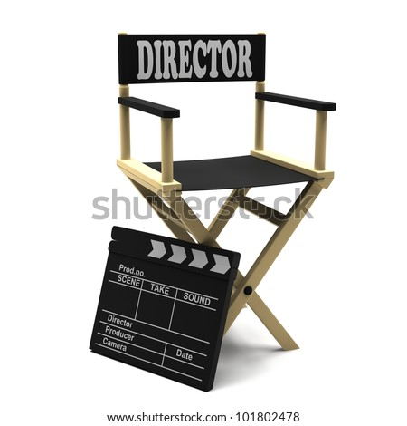Film industry: directors chair with movie clapper - stock photo