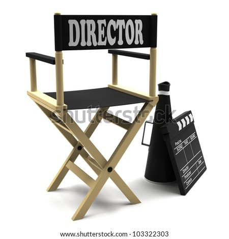 Film industry: directors chair with retro megaphone and movie clapper
