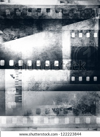 Film negative frames, black and white - stock photo