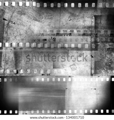 Film negative frames, film strips. Black and white - stock photo