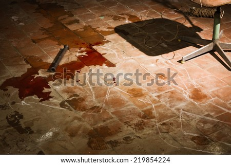 Film noir. Criminalist investigating the crime scene  - stock photo