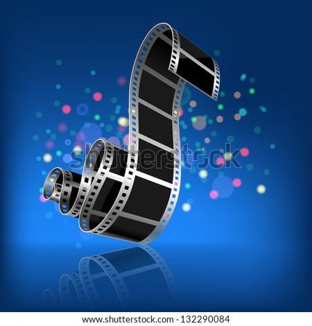 Film on a dark blue background. - stock photo