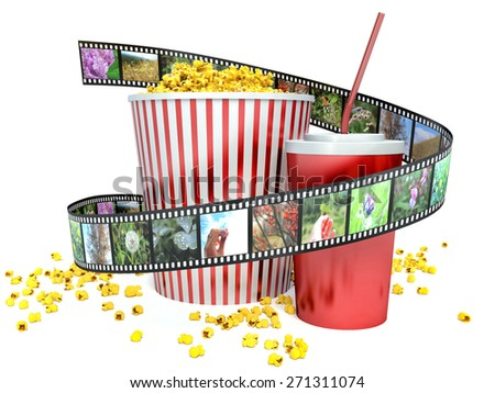film, popcorn and drink. 3d - stock photo