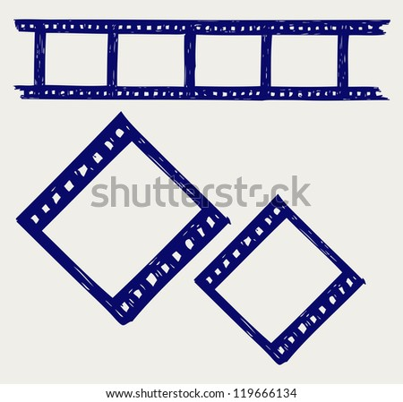Film reel. Doodle style. Raster version - stock photo