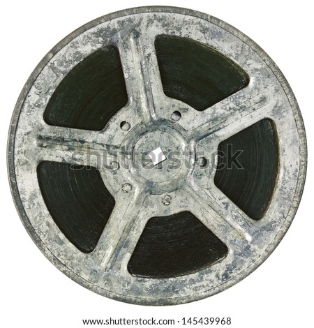 Film reel isolated on white - stock photo
