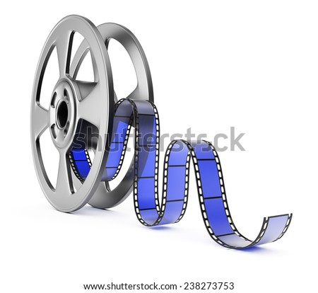 Film reel isolated on white background. 3d render