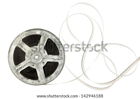 Film reel isolated on white with copy space - stock photo