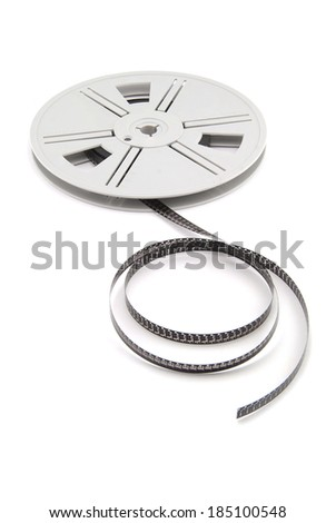 Film reel with film on white background - stock photo