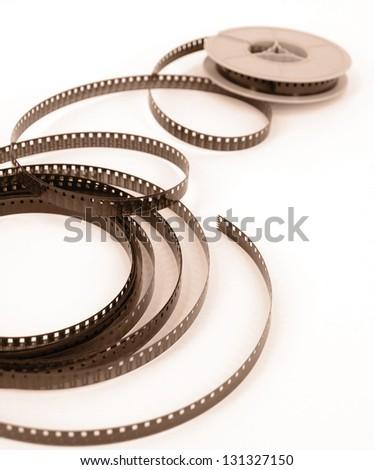 Film reels closeup - stock photo