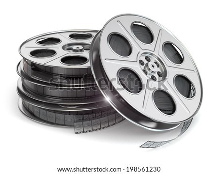 Film reels on white isolated background.  3d - stock photo