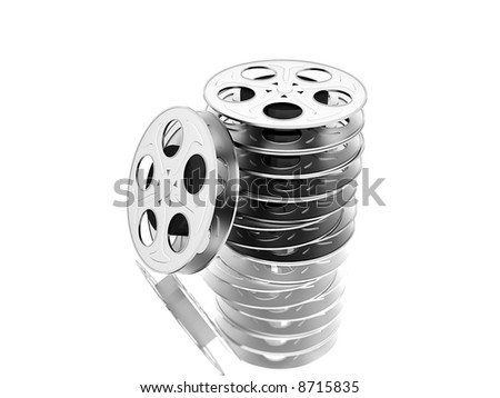 film reels over white - stock photo