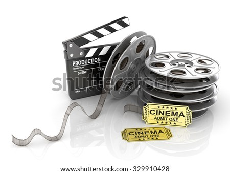 Film Reels, tickets and clapper board. Video icon - stock photo