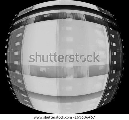 film roll background isolated on black background