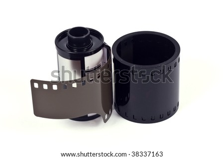 film roll 35mm over white background - stock photo