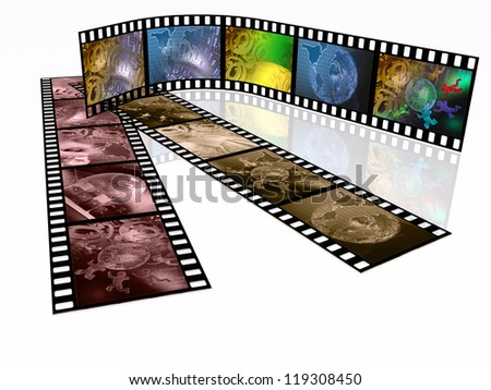 Film roll with color pictures (communication) on the white background.