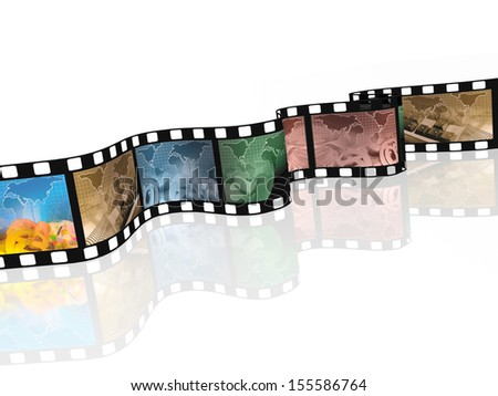 Film roll with color pictures (communication) on white background.